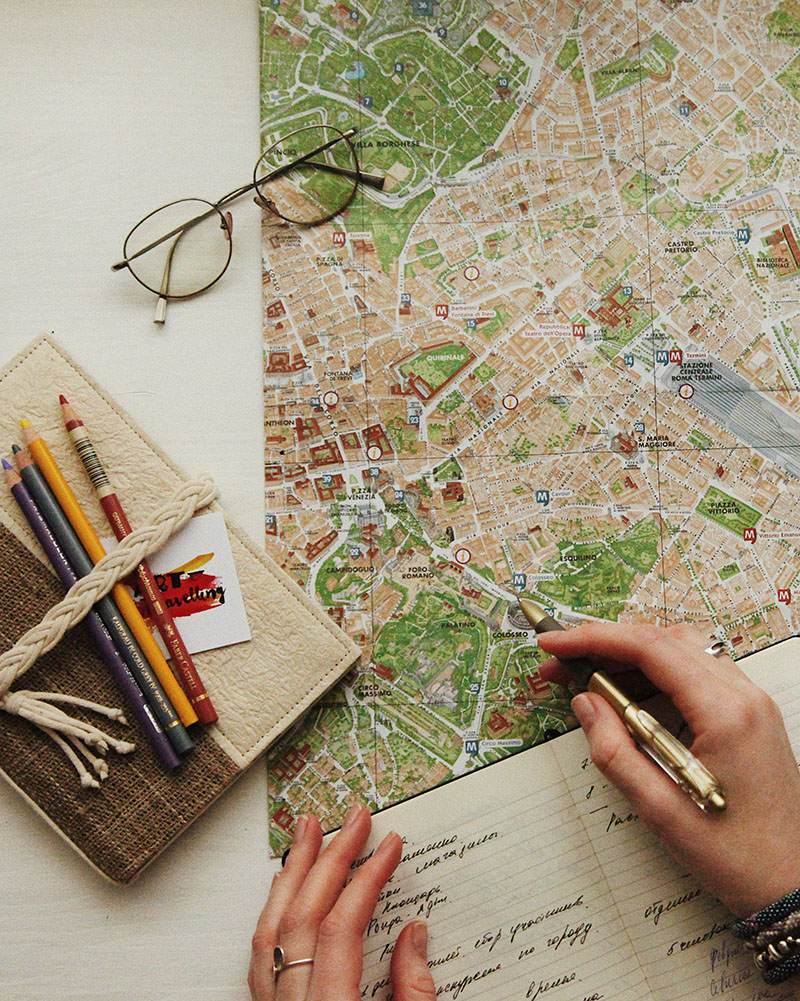 travel planning map and notebook